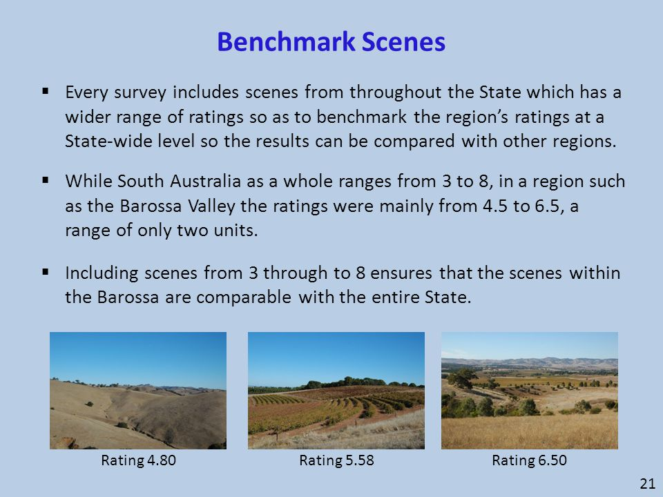 Benchmark Scenes 21  Every survey includes scenes from throughout the State which has a wider range of ratings so as to benchmark the region's rating