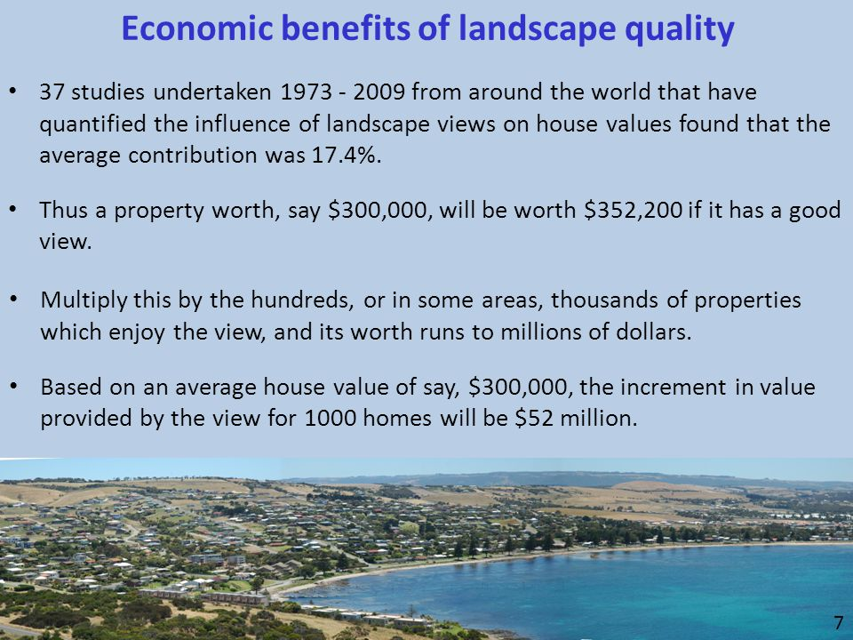 37 studies undertaken 1973 - 2009 from around the world that have quantified the influence of landscape views on house values found that the average c