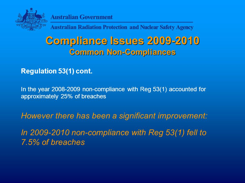Compliance Issues 2009-2010 Common Non-Compliances Regulation 53(1) cont.