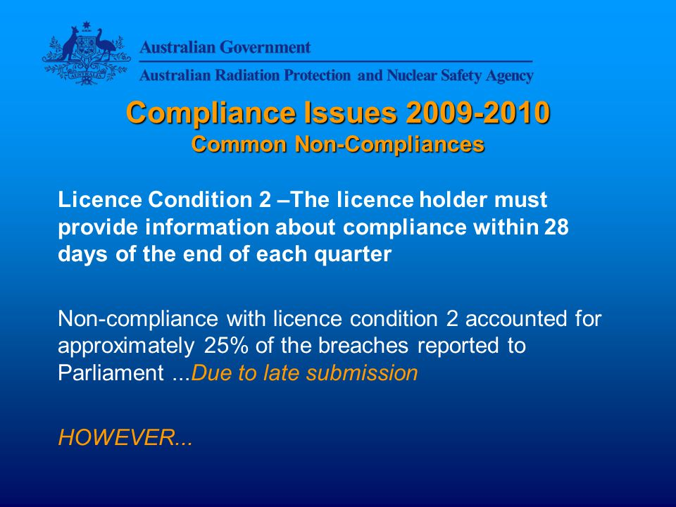 Compliance Issues 2009-2010 Common Non-Compliances
