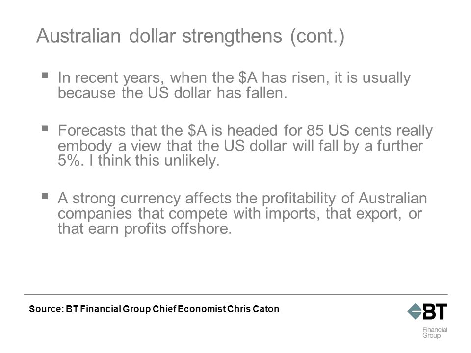Currency markets – $A per $US Source: BT Financial Group. Figures as at 31 March 2007.