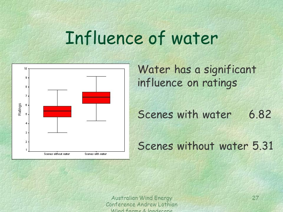 Australian Wind Energy Conference Andrew Lothian Wind farms & landscape resources 27 Influence of water Water has a significant influence on ratings S