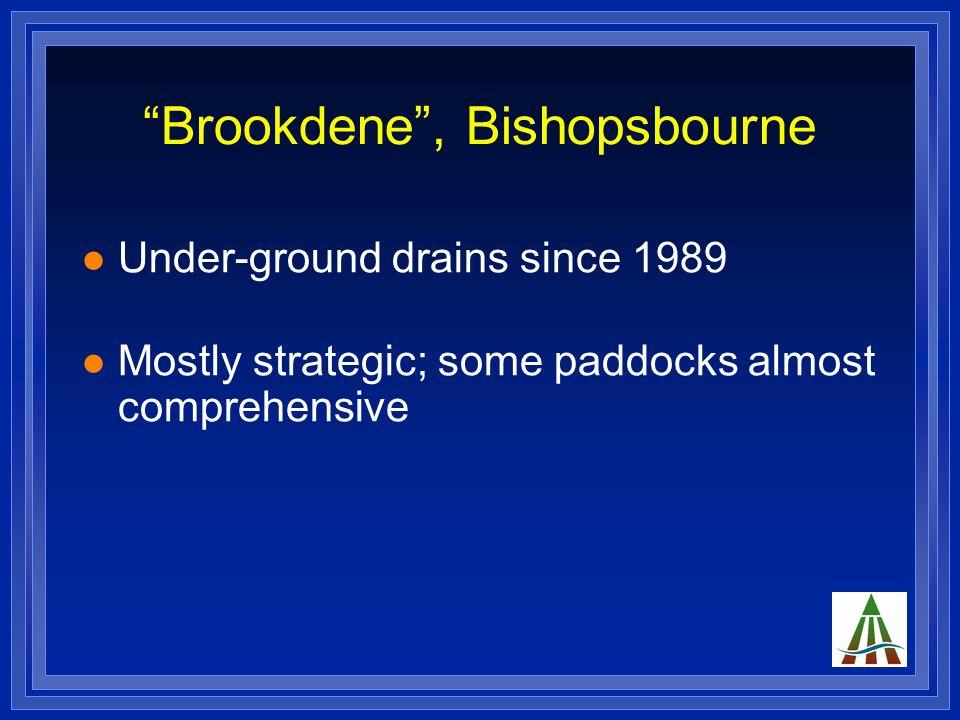 """""""Brookdene"""", Bishopsbourne Under-ground drains since 1989 Mostly strategic; some paddocks almost comprehensive"""