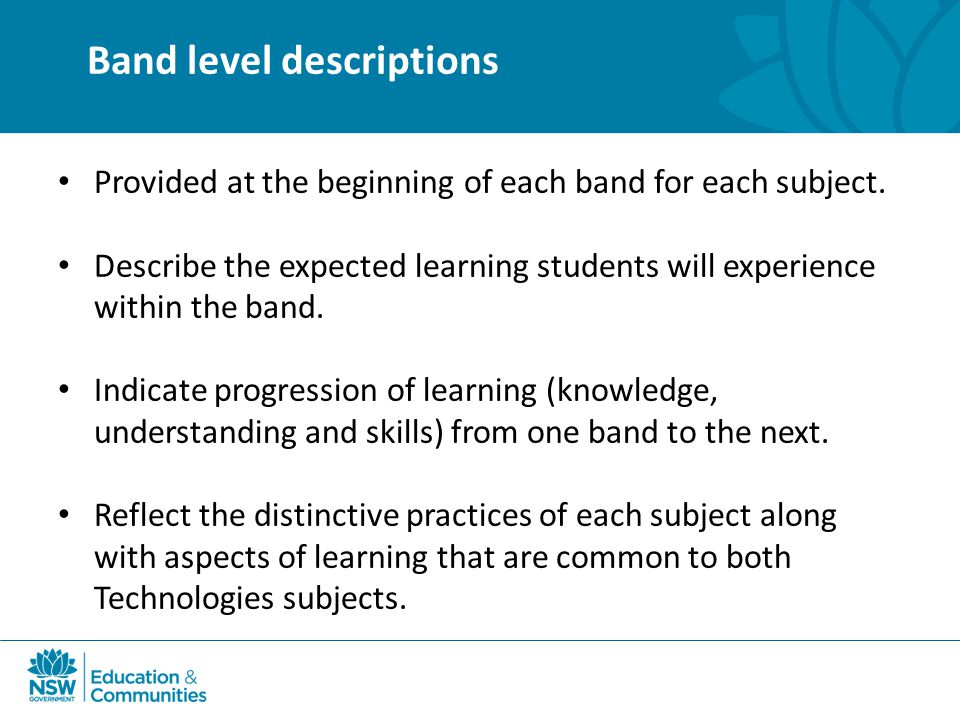 Band level descriptions Provided at the beginning of each band for each subject.