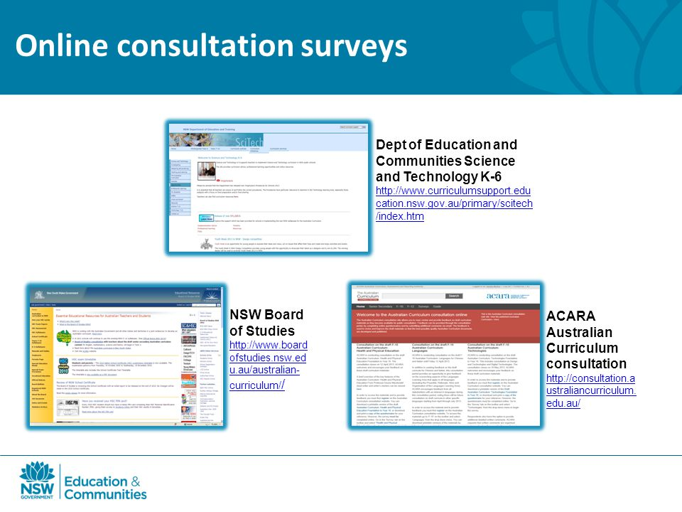 Online consultation surveys ACARA Australian Curriculum consultation   ustraliancurriculum.