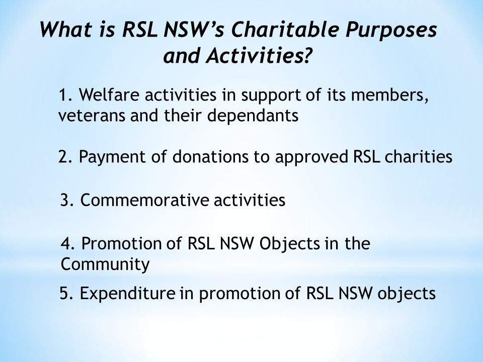 What is RSL NSW's Charitable Purposes and Activities.