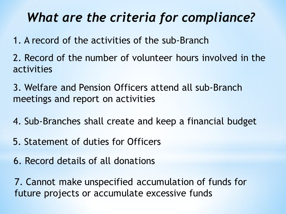 What are the criteria for compliance. 1. A record of the activities of the sub-Branch 2.