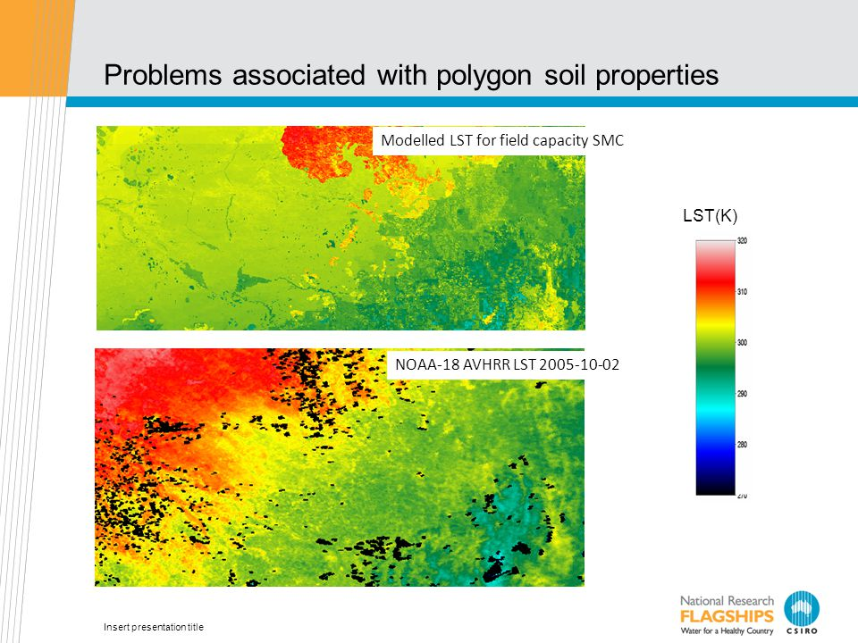 Insert presentation title Problems associated with polygon soil properties Modelled LST for field capacity SMC NOAA-18 AVHRR LST 2005-10-02 LST(K)