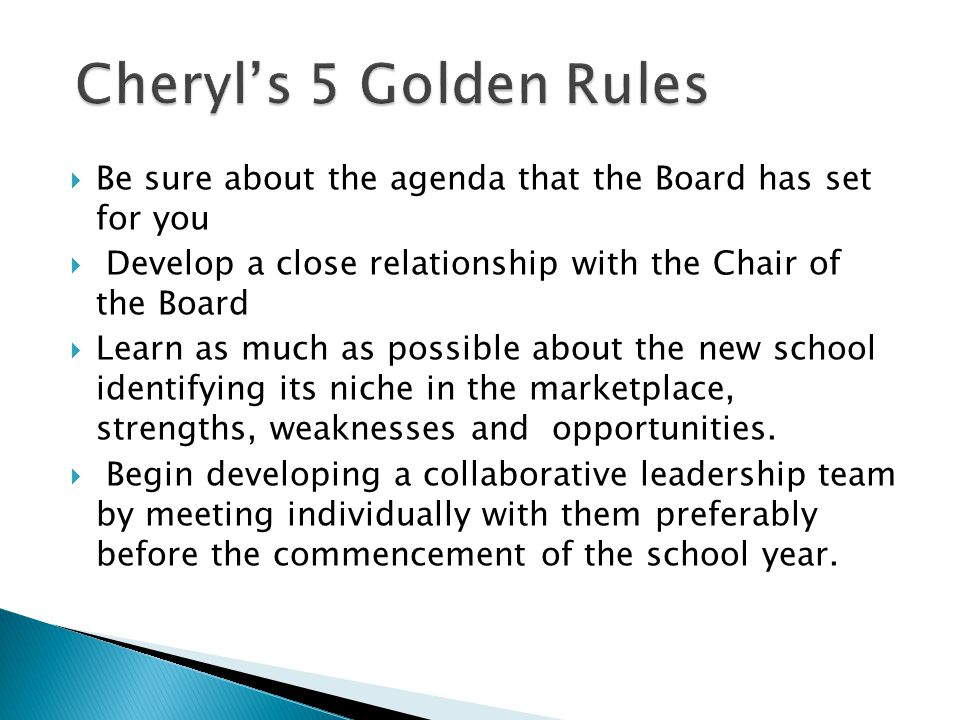  Be sure about the agenda that the Board has set for you  Develop a close relationship with the Chair of the Board  Learn as much as possible about the new school identifying its niche in the marketplace, strengths, weaknesses and opportunities.