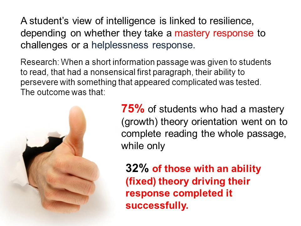 A student's view of intelligence is linked to resilience, depending on whether they take a mastery response to challenges or a helplessness response.
