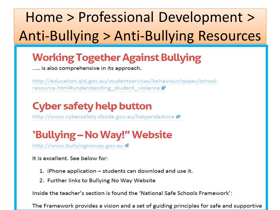 Home > Professional Development > Anti-Bullying > Anti-Bullying Resources