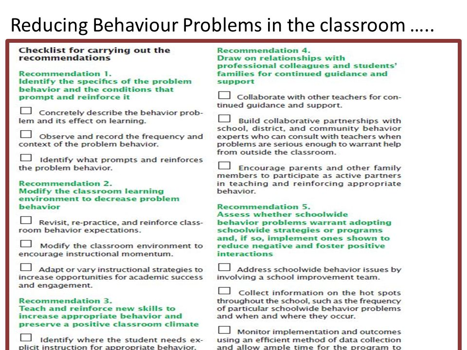 Reducing Behaviour Problems in the classroom …..