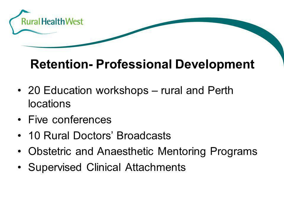 Retention- Professional Development 20 Education workshops – rural and Perth locations Five conferences 10 Rural Doctors' Broadcasts Obstetric and Ana
