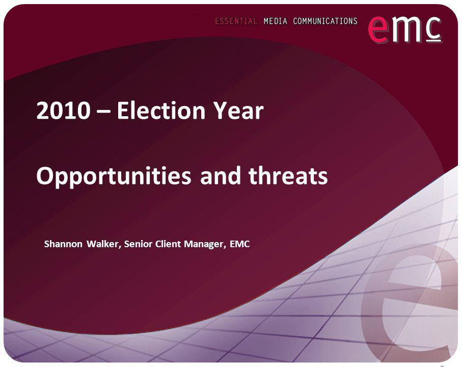 Setting the agenda It is vital in an election year to set the agenda – force political parties to respond to your issues.
