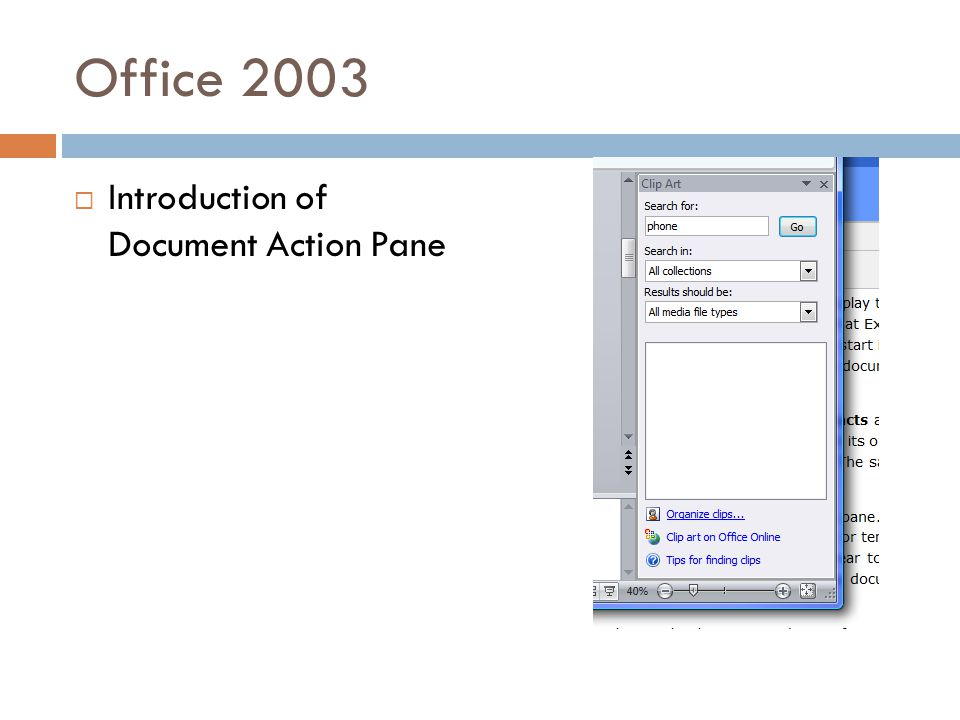 Office 2003  Introduction of Document Action Pane