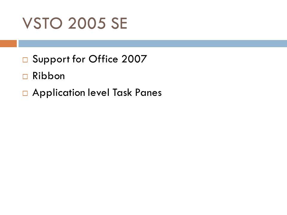 VSTO 2005 SE  Support for Office 2007  Ribbon  Application level Task Panes