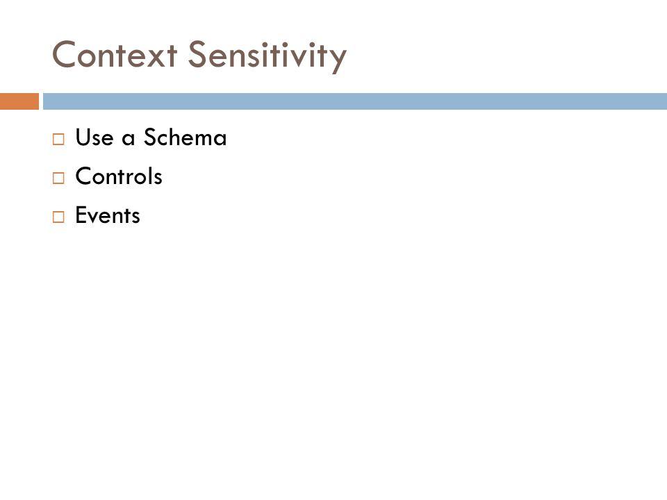 Context Sensitivity  Use a Schema  Controls  Events