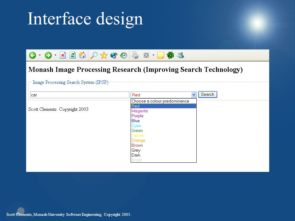 Scott Clements, Monash University Software Engineering, Copyright 2003. Interface design