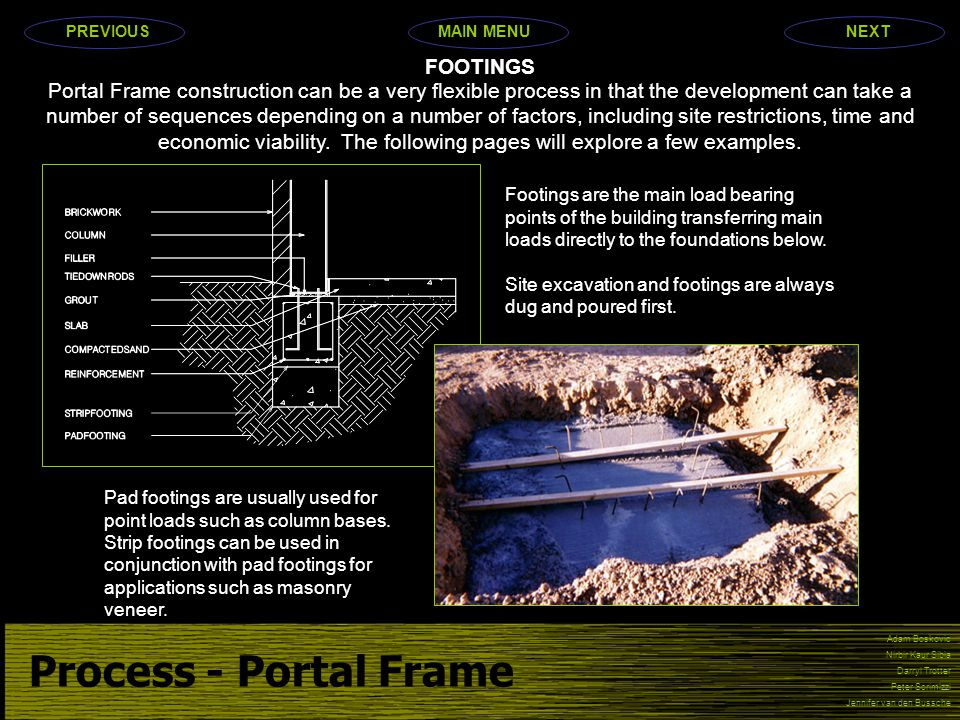Process - Portal Frame Adam Boskovic Nirbir Kaur Sibia Darryl Trotter Peter Scrimizzi Jennifer van den Bussche Portal Frame construction can be a very flexible process in that the development can take a number of sequences depending on a number of factors, including site restrictions, time and economic viability.