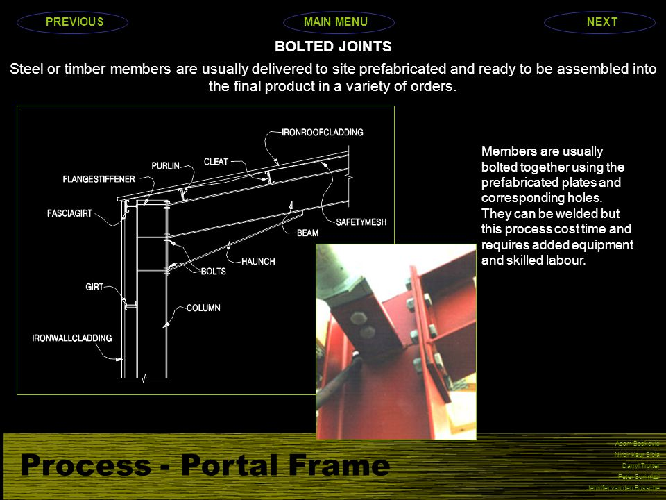 Process - Portal Frame Adam Boskovic Nirbir Kaur Sibia Darryl Trotter Peter Scrimizzi Jennifer van den Bussche Steel or timber members are usually delivered to site prefabricated and ready to be assembled into the final product in a variety of orders.
