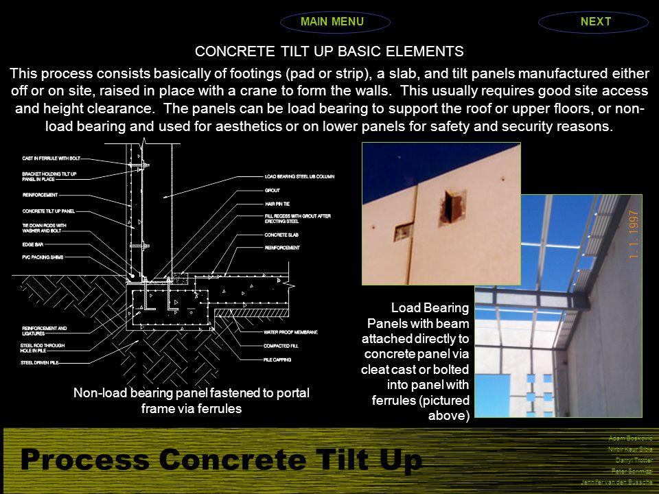 Process Concrete Tilt Up Adam Boskovic Nirbir Kaur Sibia Darryl Trotter Peter Scrimizzi Jennifer van den Bussche CONCRETE TILT UP BASIC ELEMENTS This