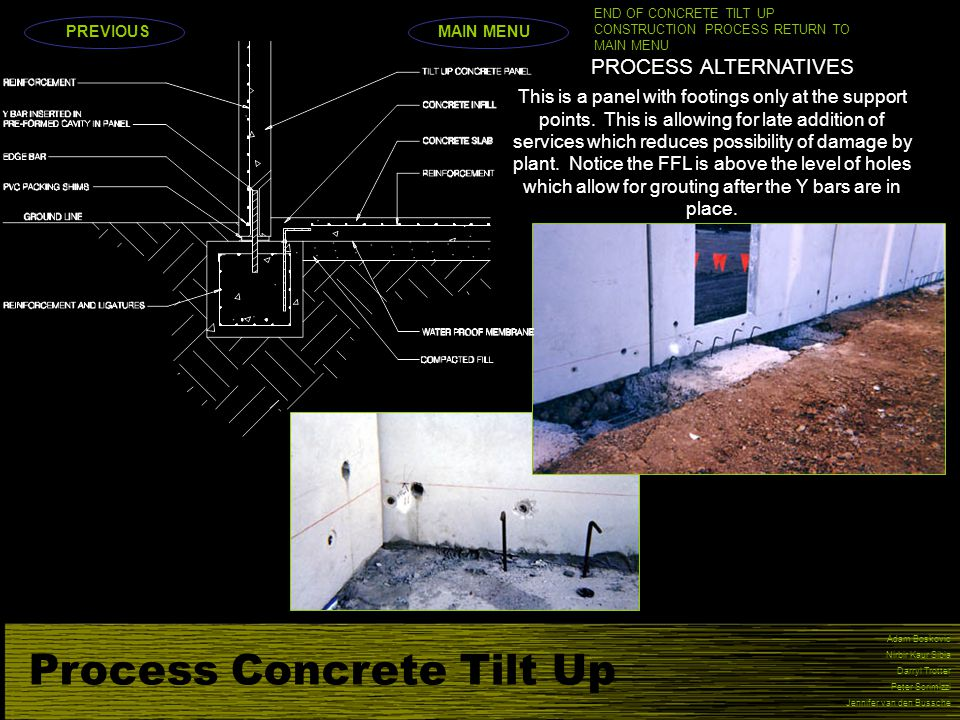Process Concrete Tilt Up Adam Boskovic Nirbir Kaur Sibia Darryl Trotter Peter Scrimizzi Jennifer van den Bussche PROCESS ALTERNATIVES This is a panel