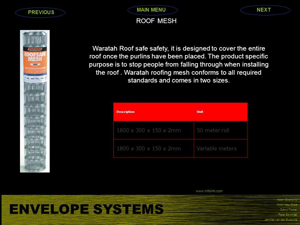 ENVELOPE SYSTEMS Adam Boskovic Nirbir Kaur Sibia Darryl Trotter Peter Scrimizzi Jennifer van den Bussche ROOF MESH Waratah Roof safe safety, it is des