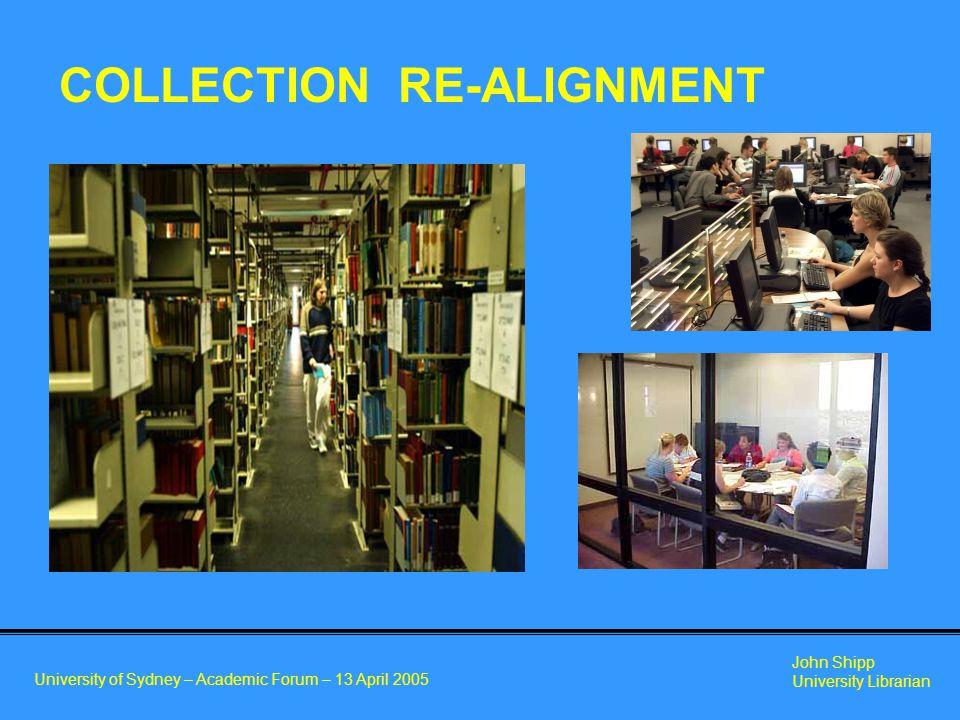 University of Sydney – Academic Forum – 13 April 2005 John Shipp University Librarian COLLECTION RE-ALIGNMENT