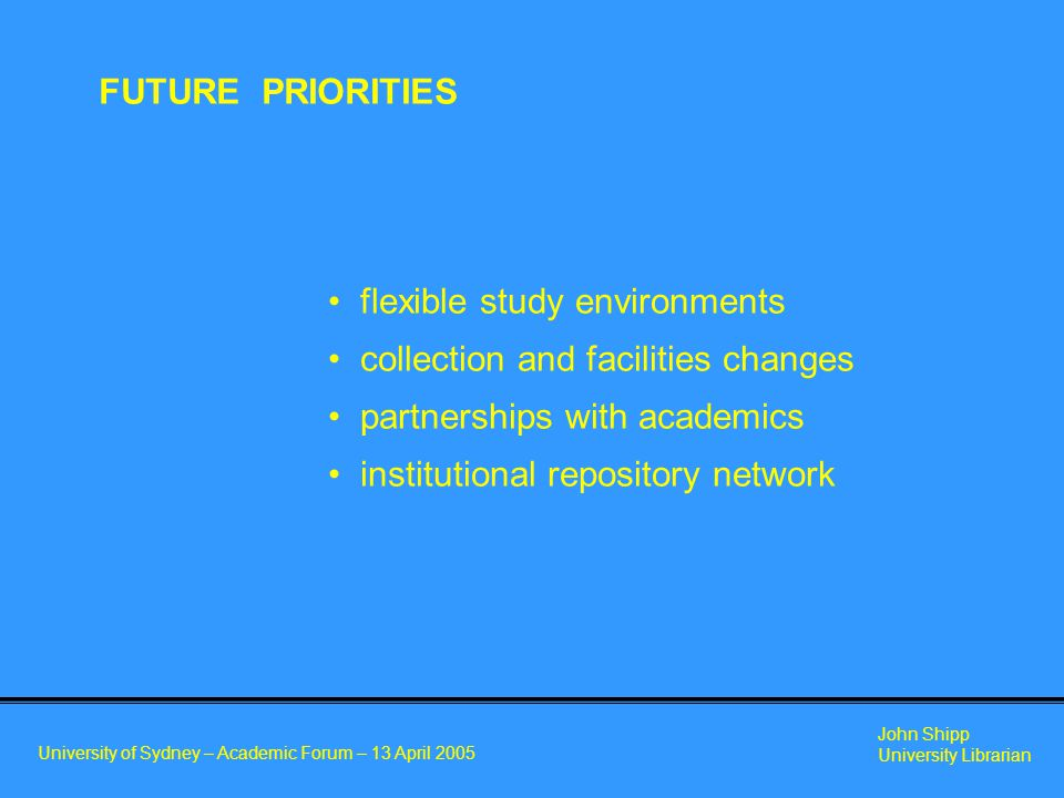 University of Sydney – Academic Forum – 13 April 2005 John Shipp University Librarian flexible study environments collection and facilities changes partnerships with academics institutional repository network FUTURE PRIORITIES
