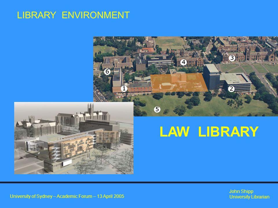 University of Sydney – Academic Forum – 13 April 2005 John Shipp University Librarian LAW LIBRARY LIBRARY ENVIRONMENT