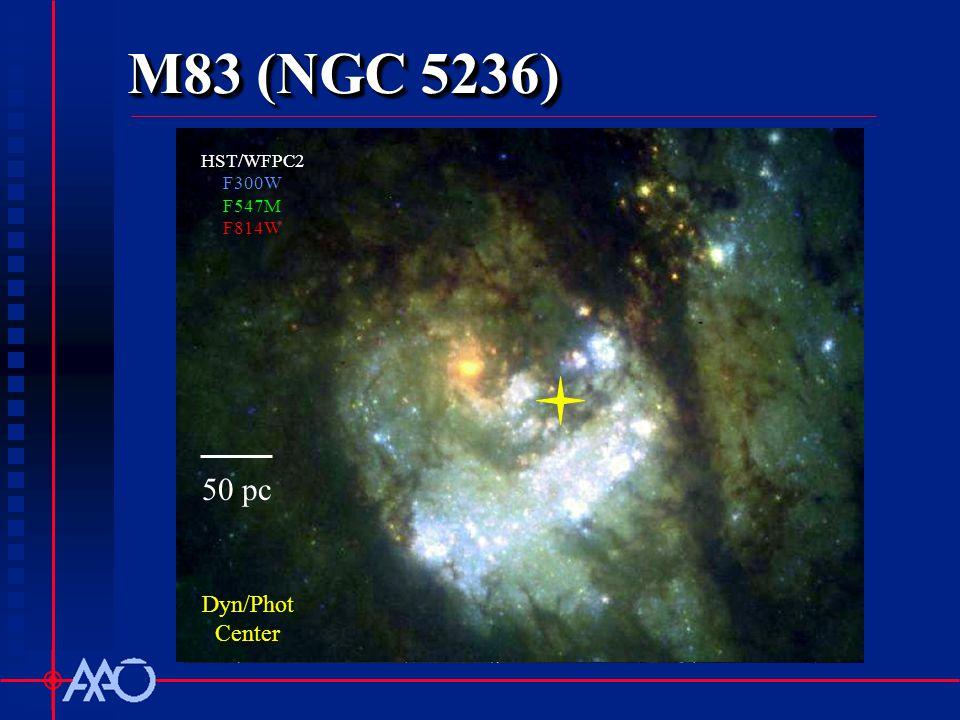M83 (NGC 5236) AAT/IRIS2 HST/WFPC2 F300W F547M F814W Dyn/Phot Center 50 pc