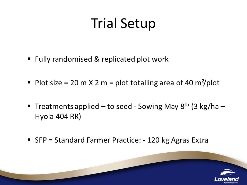  Fully randomised & replicated plot work  Plot size = 20 m X 2 m = plot totalling area of 40 m²/plot  Treatments applied – to seed - Sowing May 8 th (3 kg/ha – Hyola 404 RR)  SFP = Standard Farmer Practice: - 120 kg Agras Extra Trial Setup