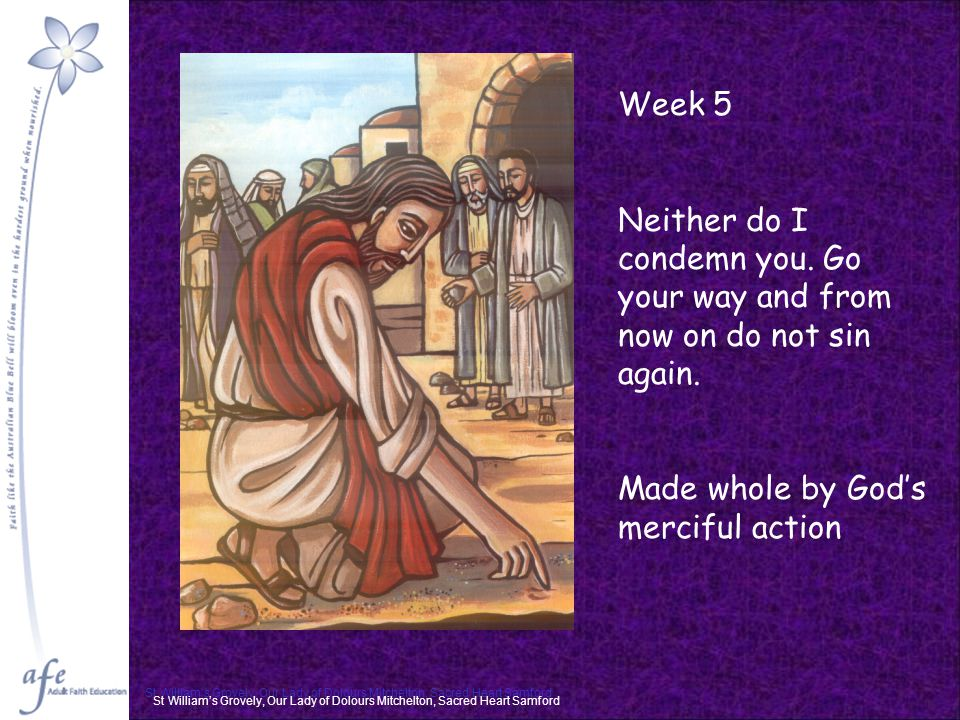 St William's Grovely, Our Lady of Dolours Mitchelton, Sacred Heart Samford Week 5 Neither do I condemn you.