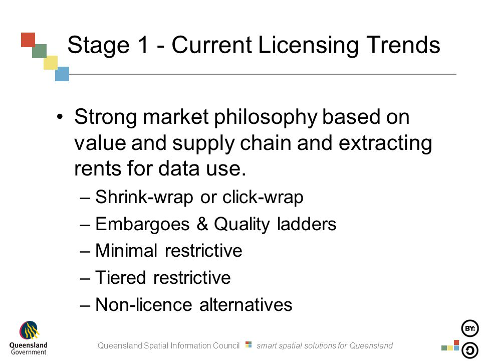 Queensland Spatial Information Council smart spatial solutions for Queensland Stage 1 - Current Licensing Trends Strong market philosophy based on val