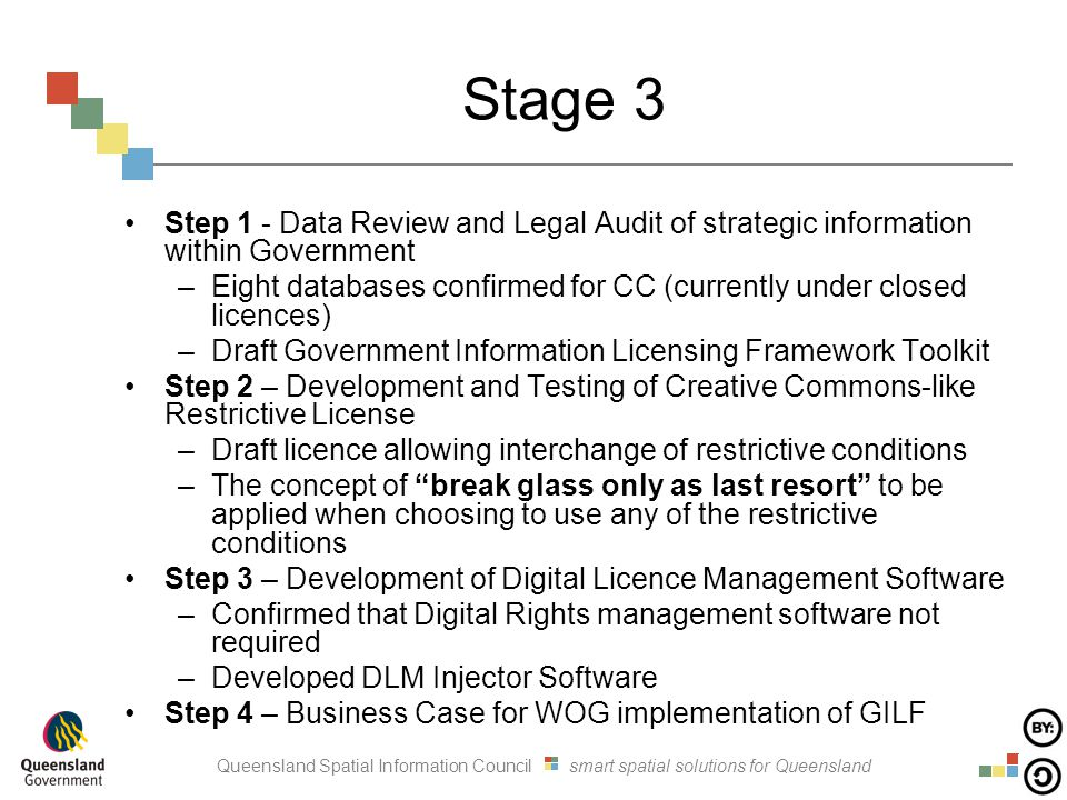 Queensland Spatial Information Council smart spatial solutions for Queensland Stage 3 Step 1 - Data Review and Legal Audit of strategic information within Government –Eight databases confirmed for CC (currently under closed licences) –Draft Government Information Licensing Framework Toolkit Step 2 – Development and Testing of Creative Commons-like Restrictive License –Draft licence allowing interchange of restrictive conditions –The concept of break glass only as last resort to be applied when choosing to use any of the restrictive conditions Step 3 – Development of Digital Licence Management Software –Confirmed that Digital Rights management software not required –Developed DLM Injector Software Step 4 – Business Case for WOG implementation of GILF