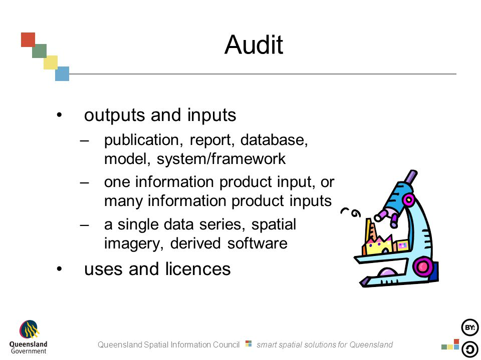 Queensland Spatial Information Council smart spatial solutions for Queensland Audit outputs and inputs –publication, report, database, model, system/f