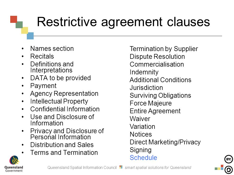 Queensland Spatial Information Council smart spatial solutions for Queensland Restrictive agreement clauses Names section Recitals Definitions and Int
