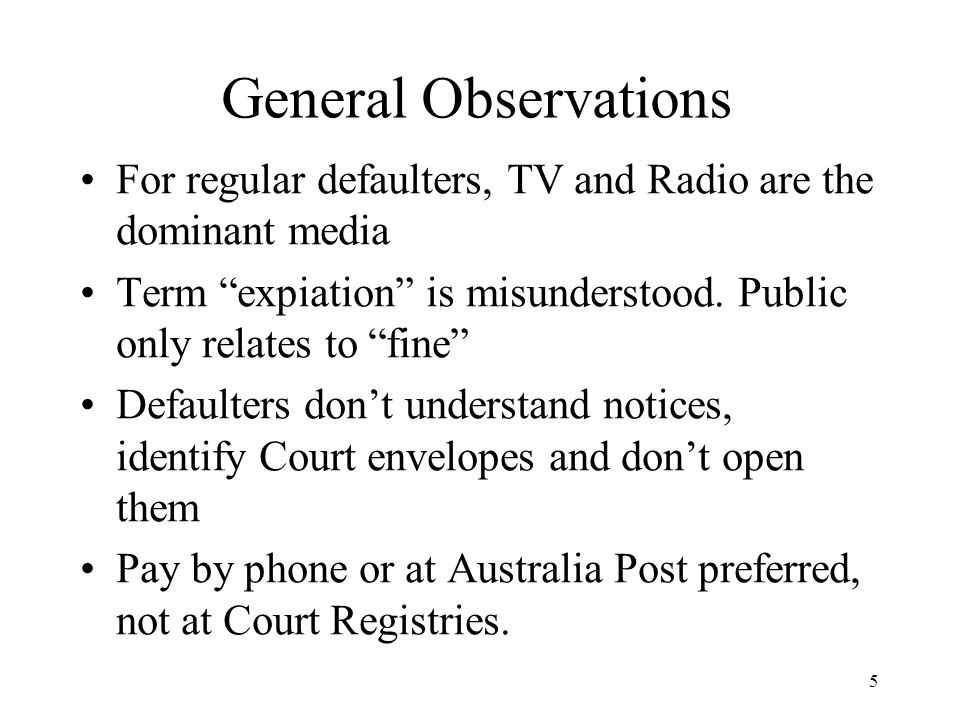 5 General Observations For regular defaulters, TV and Radio are the dominant media Term expiation is misunderstood.