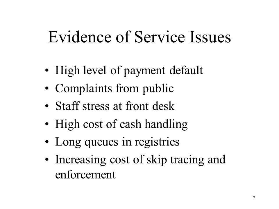 8 Credi t Card $ Magistrates Court Registries (19) 26 FTE's 420,000 Payments per annum 1998