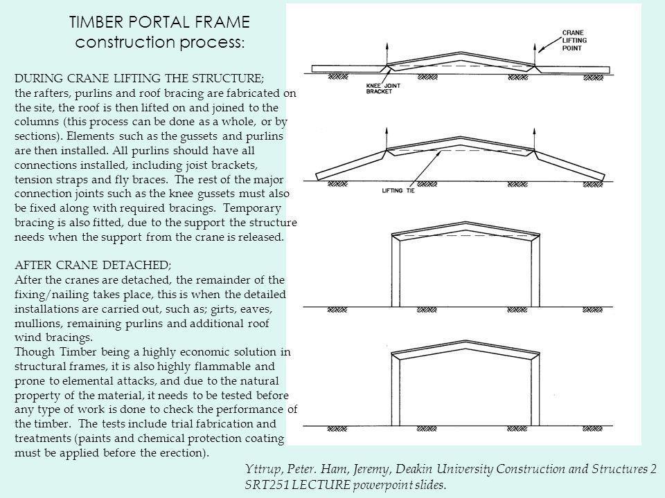 TIMBER PORTAL FRAME construction process : Yttrup, Peter. Ham, Jeremy, Deakin University Construction and Structures 2 SRT251 LECTURE powerpoint slide