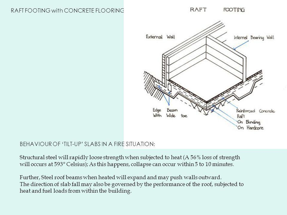 RAFT FOOTING with CONCRETE FLOORING BEHAVIOUR OF 'TILT-UP' SLABS IN A FIRE SITUATION : Structural steel will rapidly loose strength when subjected to heat (A 56% loss of strength will occurs at 593° Celsius); As this happens, collapse can occur within 5 to 10 minutes.