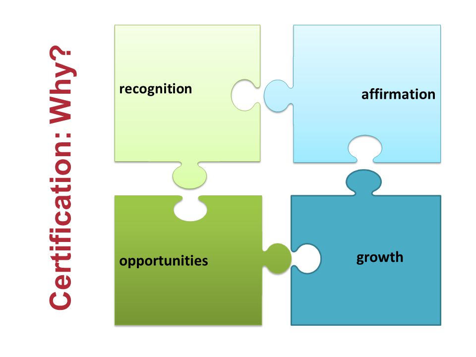 affirmation opportunities growth recognition Certification: Why?