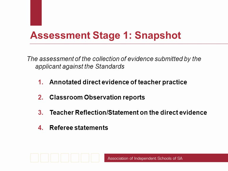Assessment Stage 1: Snapshot The assessment of the collection of evidence submitted by the applicant against the Standards 1.Annotated direct evidence