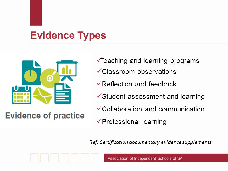 Evidence Types Teaching and learning programs Classroom observations Reflection and feedback Student assessment and learning Collaboration and communi