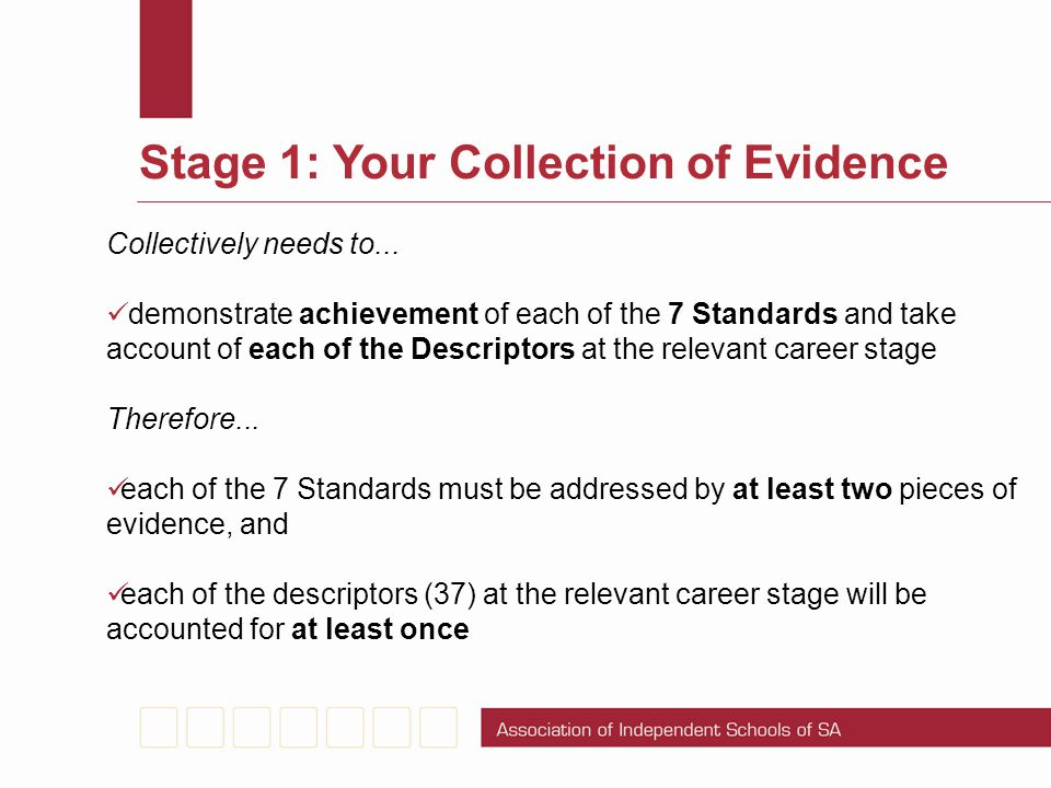 Stage 1: Your Collection of Evidence Collectively needs to... demonstrate achievement of each of the 7 Standards and take account of each of the Descr