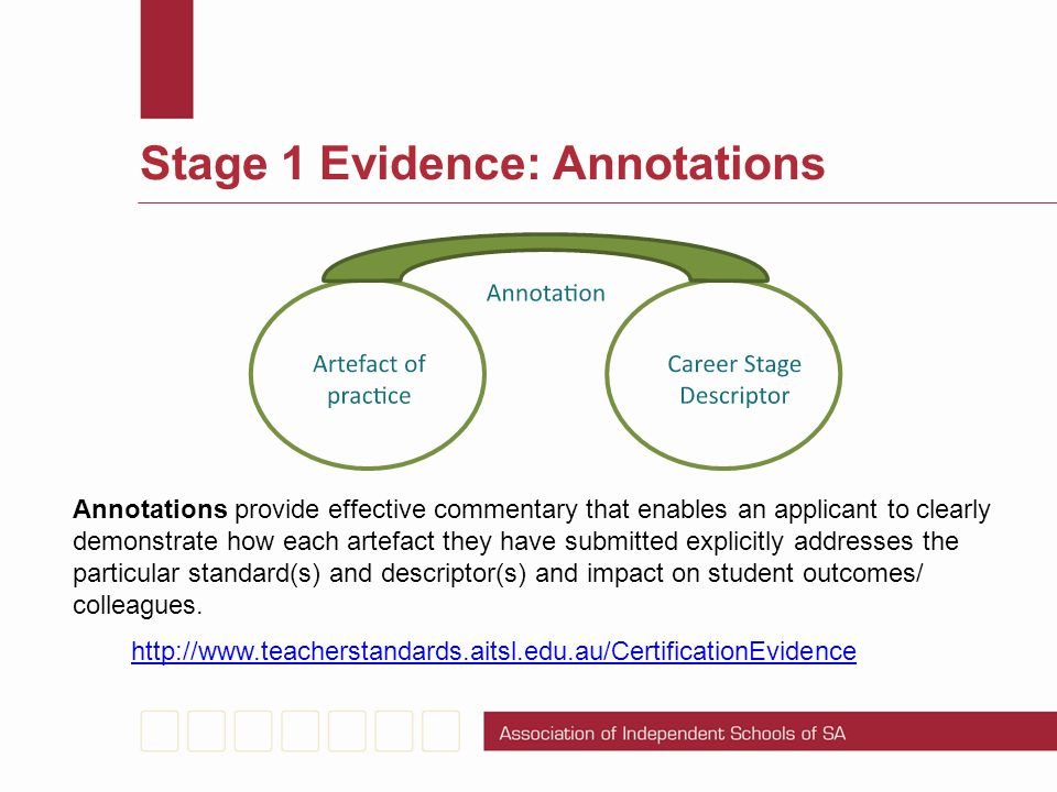 Stage 1 Evidence: Annotations http://www.teacherstandards.aitsl.edu.au/CertificationEvidence Annotations provide effective commentary that enables an