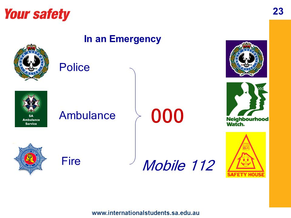 Your safety   23 In an Emergency Police Ambulance Fire 000 Mobile 112