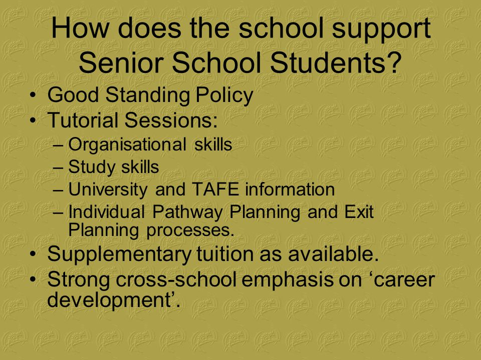 How does the school support Senior School Students.