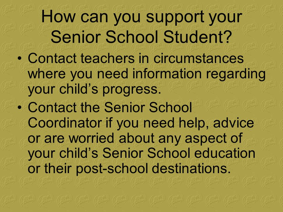 How can you support your Senior School Student.