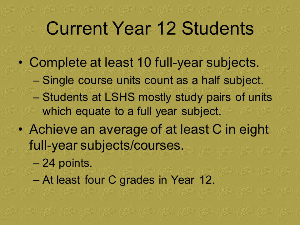 Current Year 12 Students Achieve English Language Competence –Complete at least four units of English across two years.